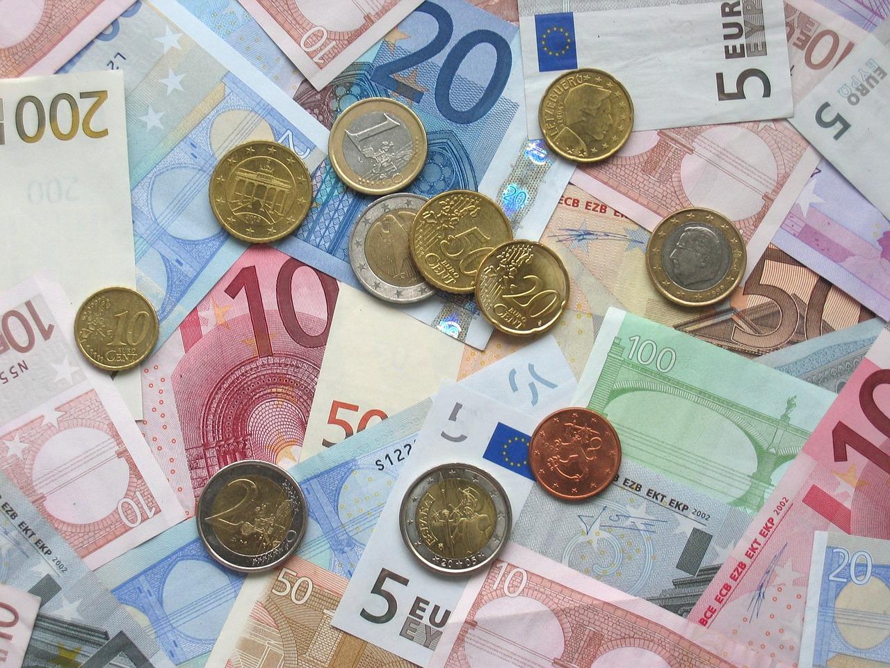 euro, bank notes, coins