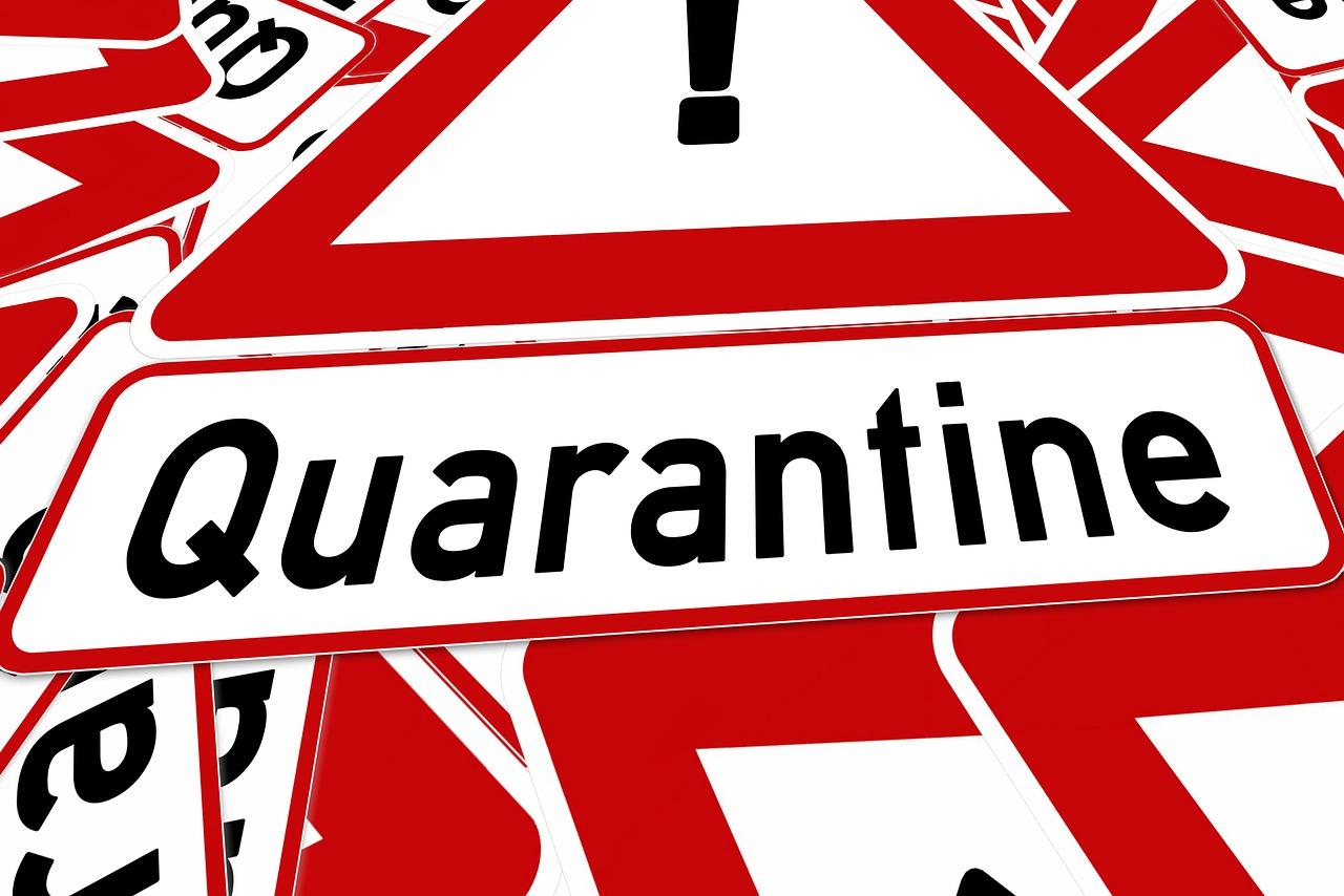 quarantine, road sign, traffic sign