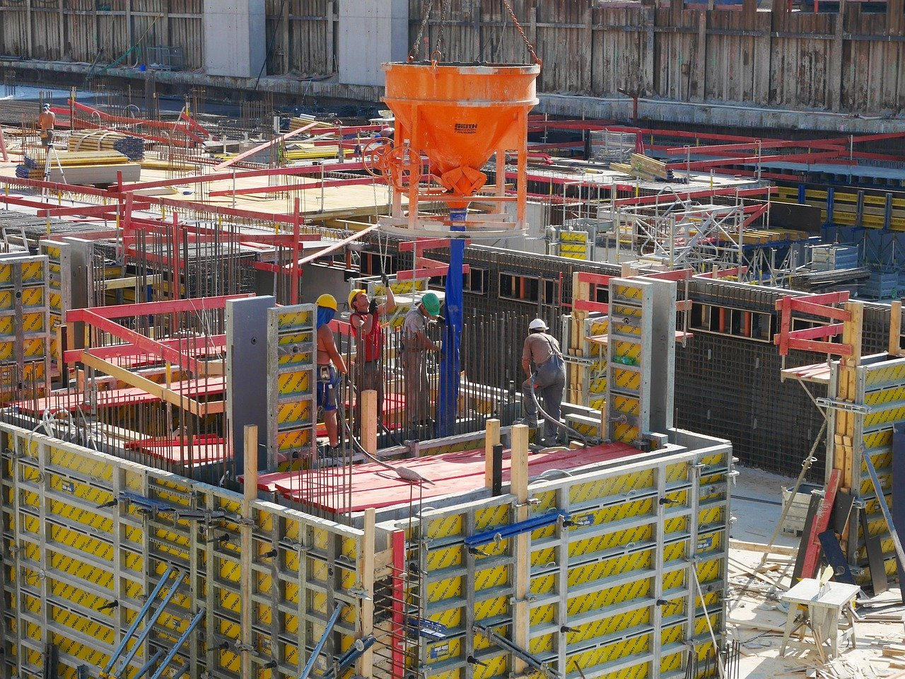 construction site, construction workers, work