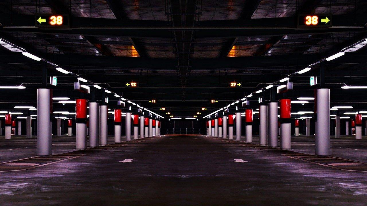 parking garage, parking lot, empty
