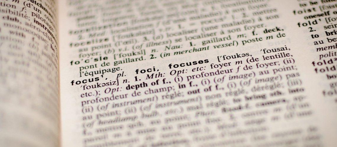 dictionary, focus, book