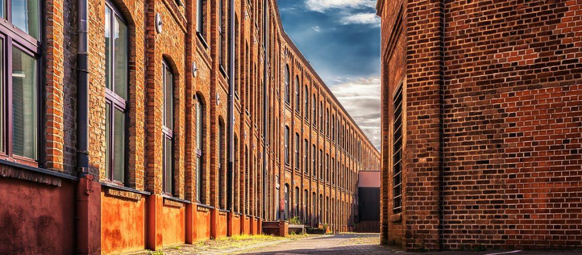 factory, building, brick
