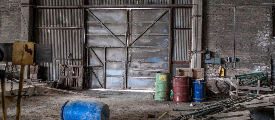 metallic door, destruction, abandoned factory