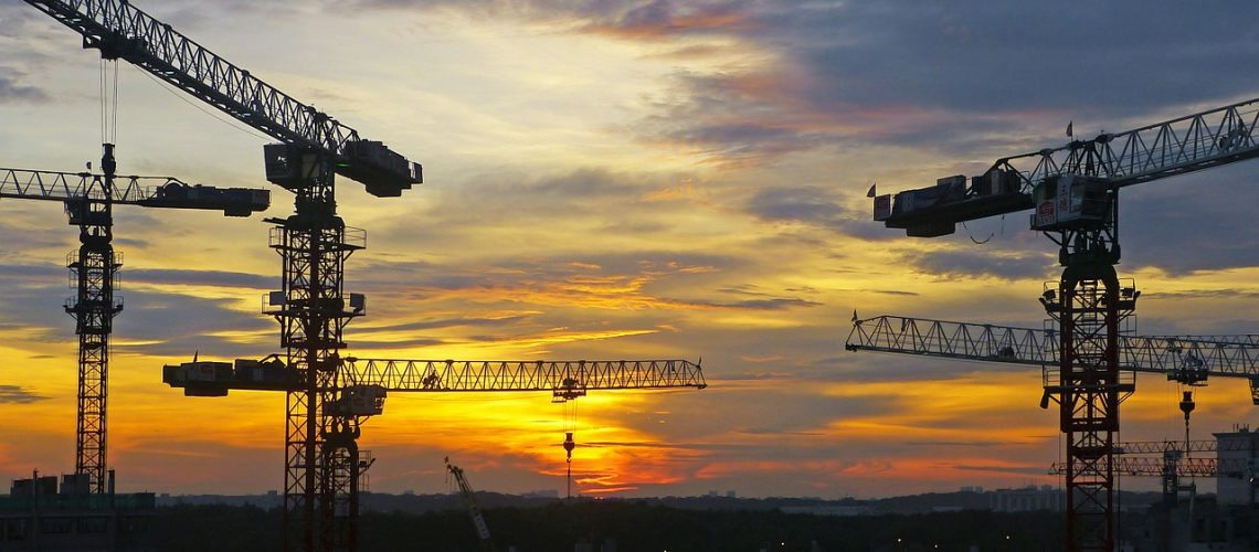 sunset, singapore, silhouettes