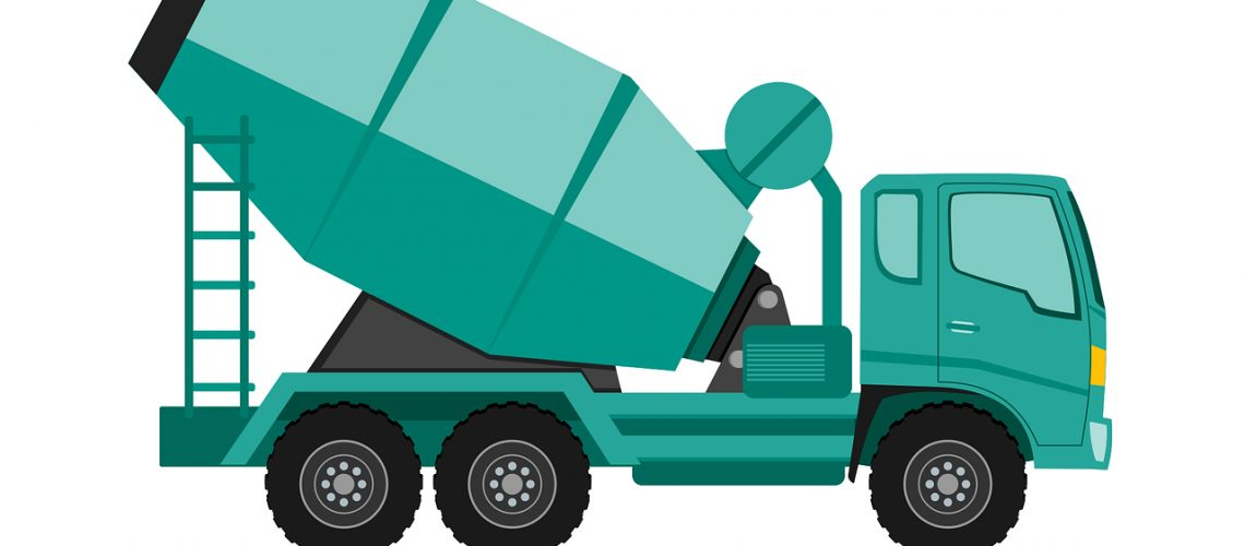 truck, concrete mixer truck, heavy